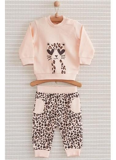 Nenny Baby Nenny Baby Leopar 2'Li Kız Bebek Alt Üst Takım Nb-409 Somon